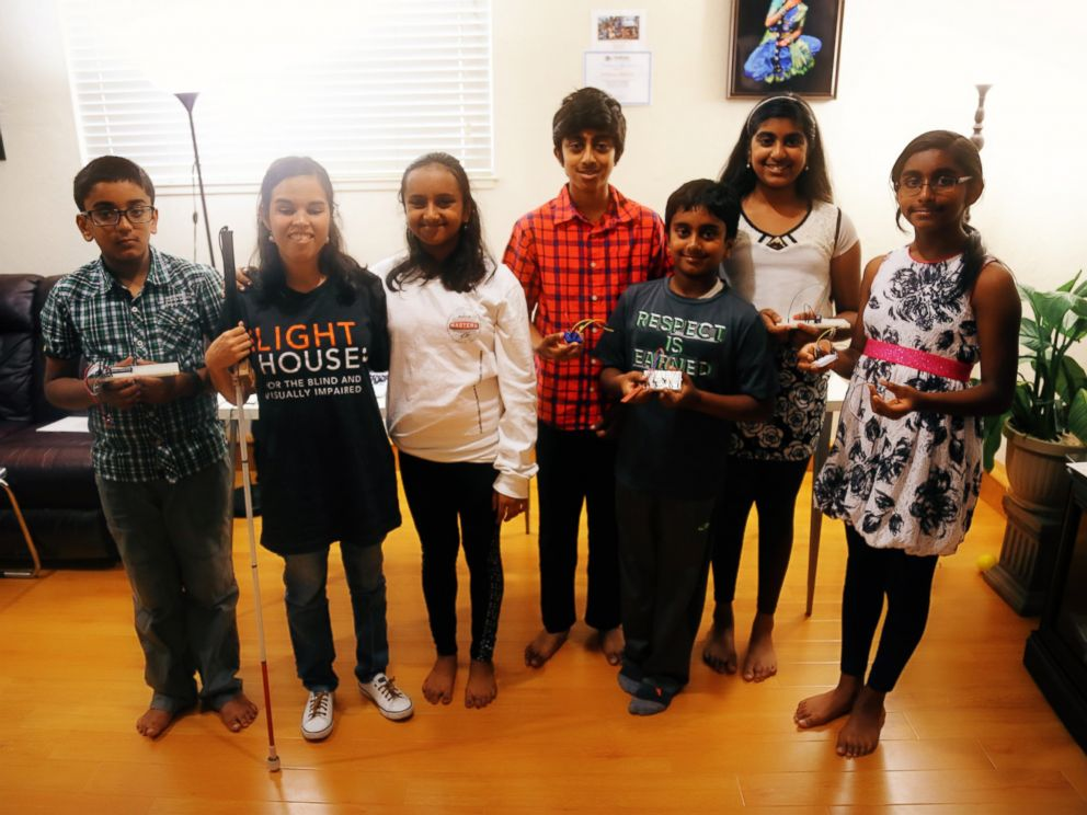 PHOTO: Hari Bhimaraju, 12, poses with her Monkey Science students at home in Cupertino, California.