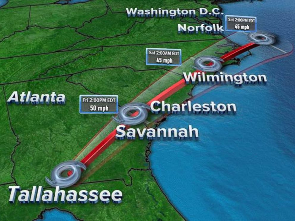 PHOTO: Hermines center is expected to continue moving across southeast Georgia on Friday and then move across the coastal Carolinas Friday night before heading offshore of the North Carolina coast on Saturday.
