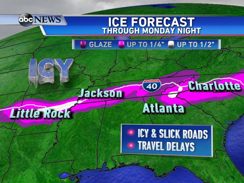 PHOTO: Accumulating ice is expected from Arkansas to North Carolina through Monday night.