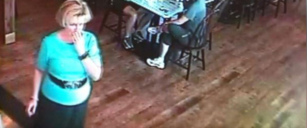 PHOTO: Surveillance video footage courtesy of Dickeys Barbeque shows Jan Harding, 67, who drank poisoned tea laced with lye.