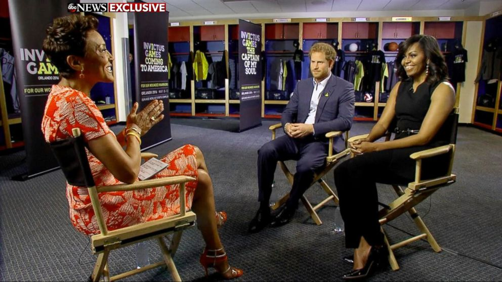 """Prince Harry and First Lady Michelle Obama speak to """"Good Morning America"""" co-anchor Robin Roberts about the Invictus Games in Orlando, Fla."""