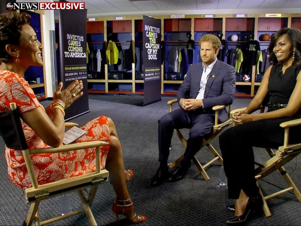 PHOTO: Prince Harry and First Lady Michelle Obama speak to Good Morning America co-anchor Robin Roberts about the Invictus Games in Orlando, Fla.