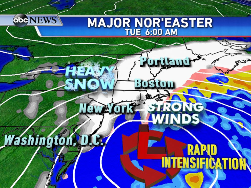 PHOTO: A major noreaster is forecast to develop of the east coast late Monday and rapidly intensify by Tuesday morning bringing heavy snow and strong winds.
