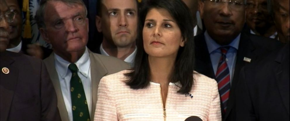 PHOTO: South Carolina Gov. Nikki Haley asked that the Confederate battle flag be removed from the state capitol in the wake of the shootings at Emanuel AME church.