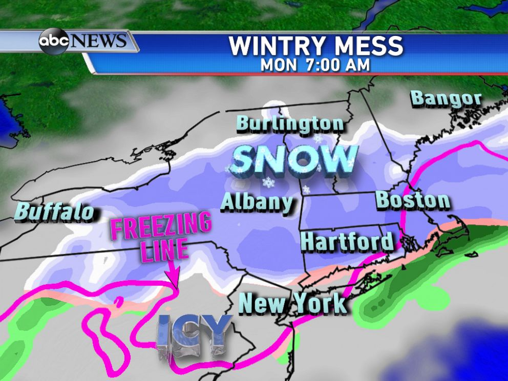 PHOTO: On Monday morning, snow will be falling from New York State to New England with an icy mix to the south.