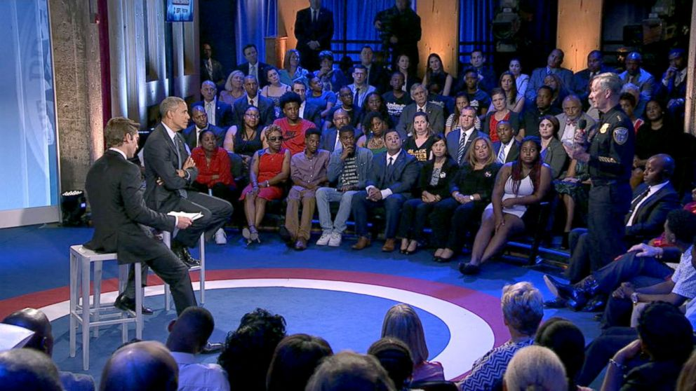 Milwaukee Police Chief Edward Flynn asks President Obama a question during the ABC News Town Hall with David Muir, July 14, 2016, in Washington.
