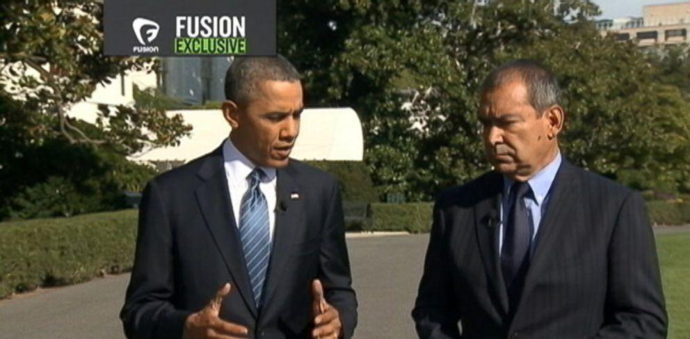PHOTO: President Barack Obama speaks with ABC News senior national correspondent Jim Avila.