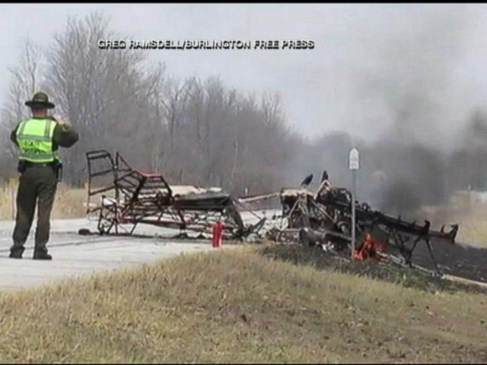PHOTO: Vermont pilot Dan Marcotte survives a fiery crash by parachuting of plane.