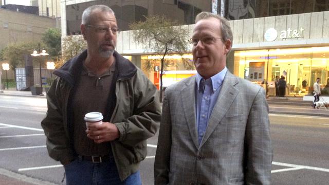 PHOTO:Robert McHeffey and Paul M. take a smoke break just blocks from Dealey Plaza, where JFK was shot 50 years ago today.