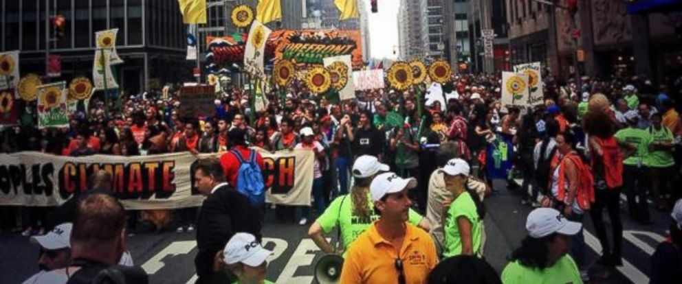 """PHOTO: Micah Grimes posted this photo to Twitter on Sept. 21, 2014 with the caption, """"Peoples Climate March was stopped at Radio City Music Hall. Organizers spoke to police for a whole. Moving again."""""""