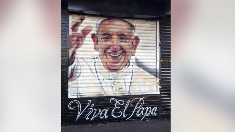A mural of Pope Francis in the Bronx by artist Andre Trenier to celebrate his arrival.
