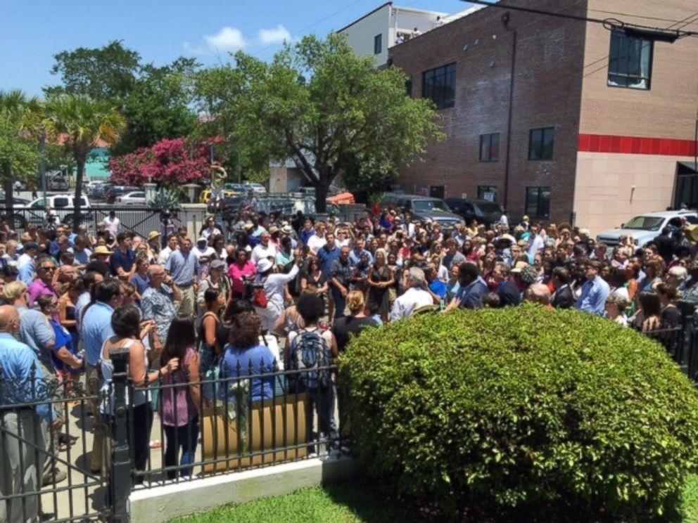 PHOTO: The scene outside a prayer vigil in Charleston, South Carolina on June 18, 2015.