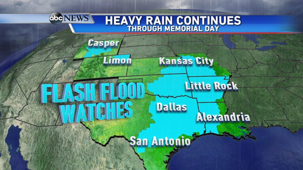 On Sunday evening, Flash Flood Watches were in effect from Texas up to Missouri, and across parts of the Rockies.