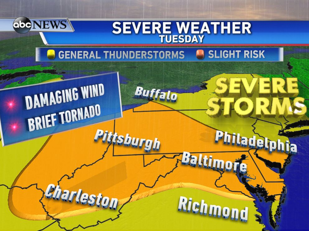 PHOTO: Portions of the Mid-Atlantic and Northeast could see severe storms capable of 60mph winds and isolated tornadoes on Tuesday.