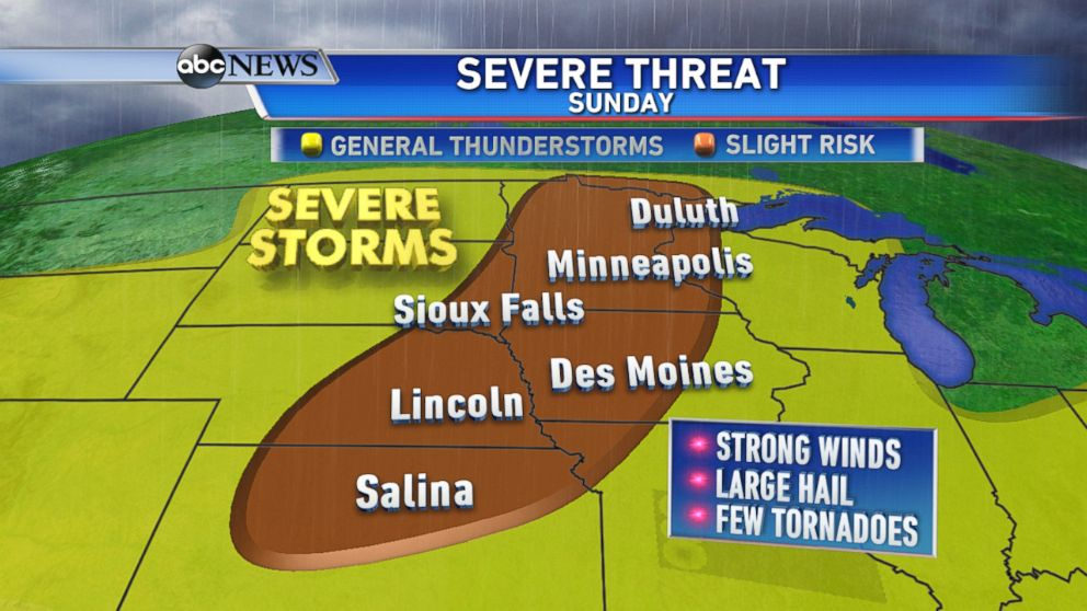 There Is An Elevated Risk For Severe Storms On Sunday From The Central Plains To The