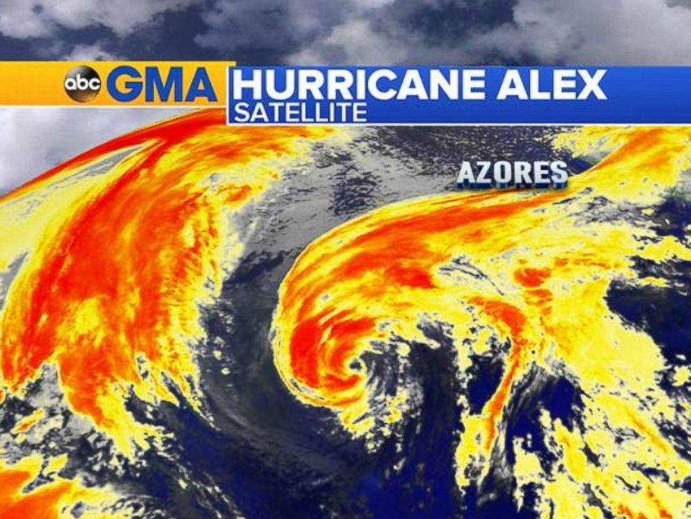 PHOTO: Satellite Imagery of Hurricane Alex on the morning on January 15, 2016.