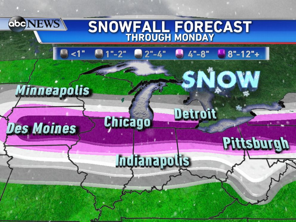 PHOTO: A large area of 8-12 inches of snow, with isolated higher amounts, is expected from central Iowa into the northern Ohio Valley by Monday morning.