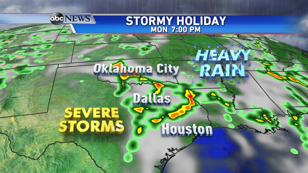 Another round of severe thunderstorms and heavy rain threaten much of Texas and Oklahoma on Memorial Day.