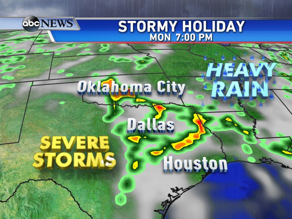 PHOTO: Another round of severe thunderstorms and heavy rain threaten much of Texas and Oklahoma on Memorial Day.