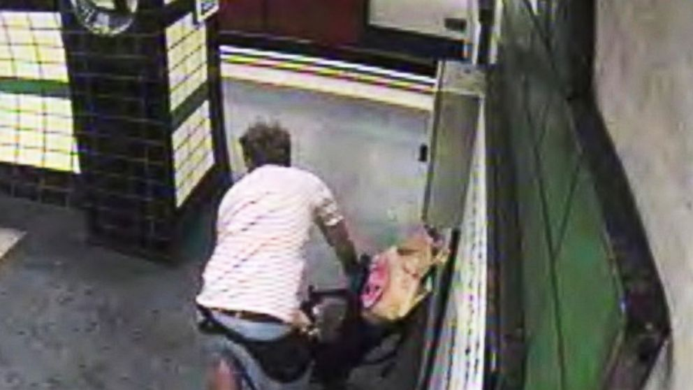 A stroller was blown onto the tracks at a British subway station just seconds before a train arrived.