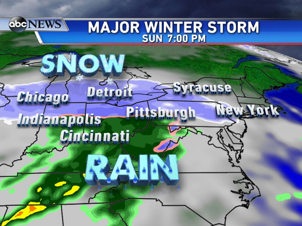 PHOTO: By Sunday evening, the snow will be moving into parts of the Northeast with areas of heavy rain to the south.