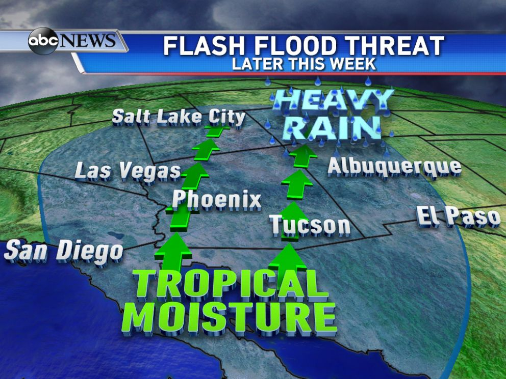 PHOTO: Later this week tropical moisture, from the remnants of Hurricane Odile, could bring heavy rain and flooding to parts of the Southwest.