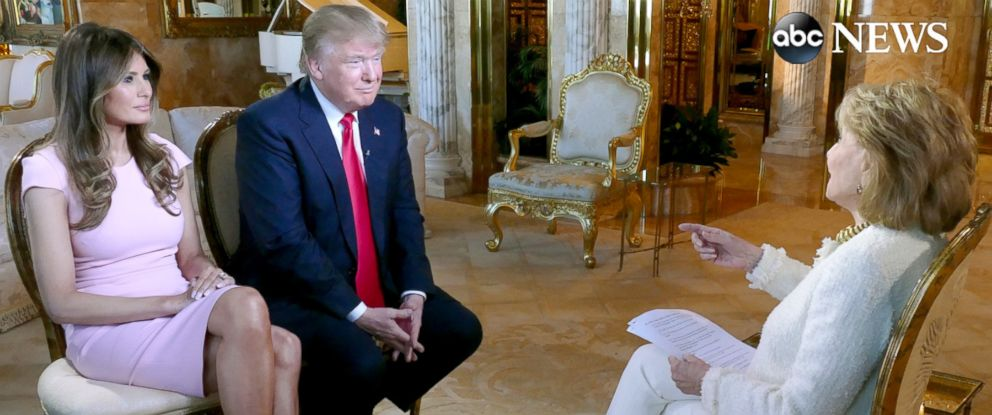 "PHOTO: Donald and Melania Trump sat down with Barbara Walters for an interview to air on ABC News ""20/20."""