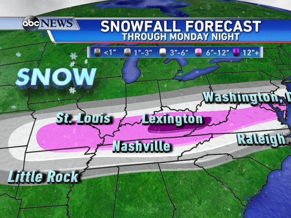 PHOTO: Over a foot of snow could fall through Monday night across parts of eastern Kentucky.