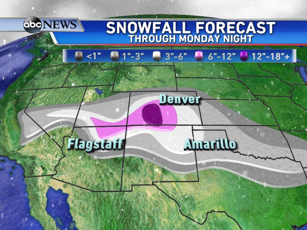 PHOTO: The highest snowfall totals through Monday are expected across western Colorado.