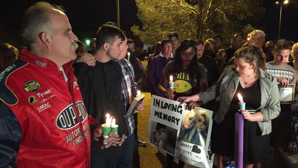 The family of the late Tammy Meyers held a candlelight vigil in Las Vegas Feb. 17, 2015 after Meyers was gunned down in what police are calling a road rage incident.