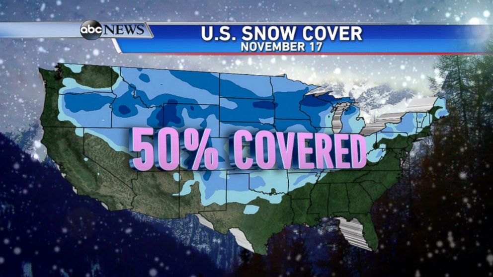 Map Shows Half the Country Covered in Snow - ABC News on snowfall map usa, barometric pressure map usa, meth map usa, snake map usa, sea map usa, smog map usa, frost map usa, snow in usa, wood map usa, winter map usa, mountains map usa, spider map usa, fall color map usa, el nino map usa, star map usa, rainbow map usa, smoke map usa, rain map usa, uv index map usa, salmon map usa,