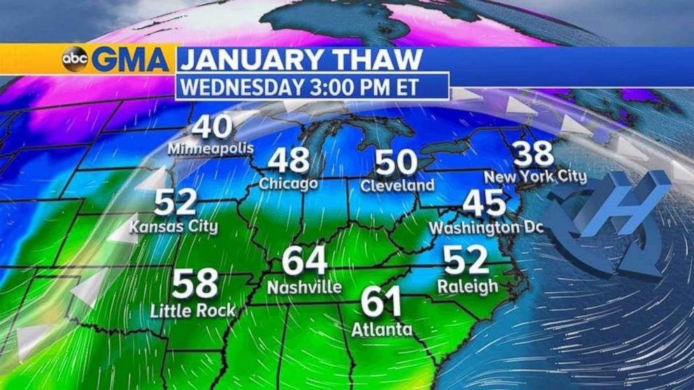 Forecast highs will be near 50 degrees from Chicago to Detroit on Wednesday.