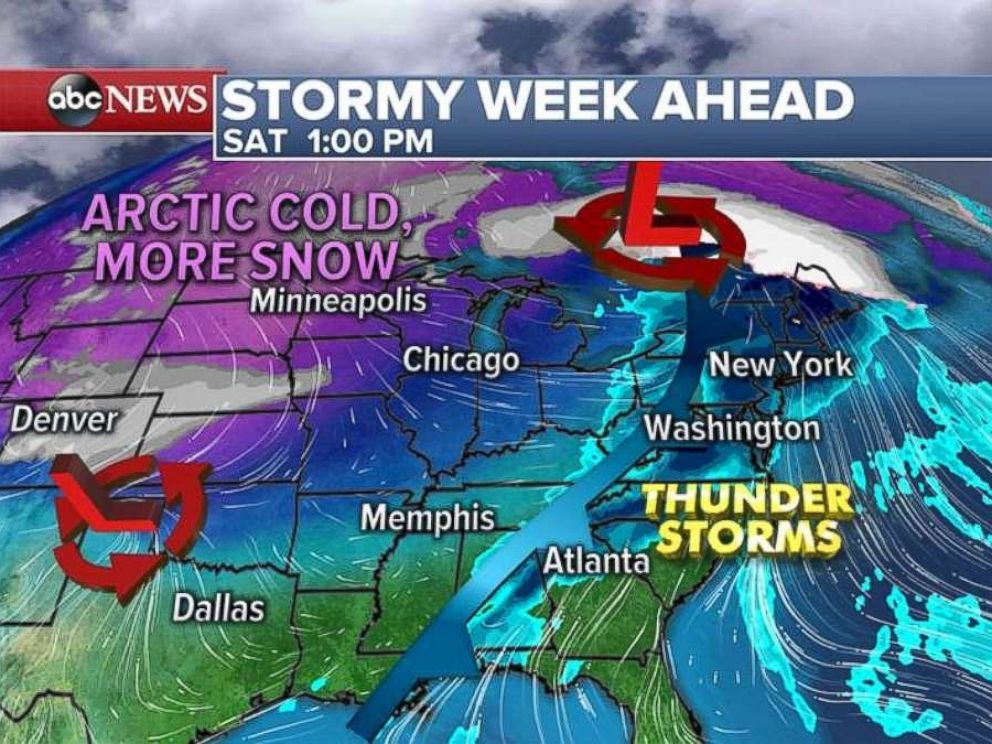 PHOTO: Two storm systems could bring heavy snow and rain to parts of the country this week.