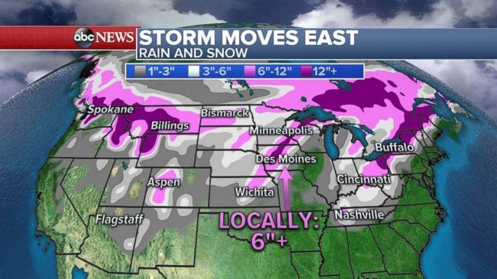 PHOTO: A storm could bring as much of 6 inches of snow to parts of the Rockies and Midwest this weekend.