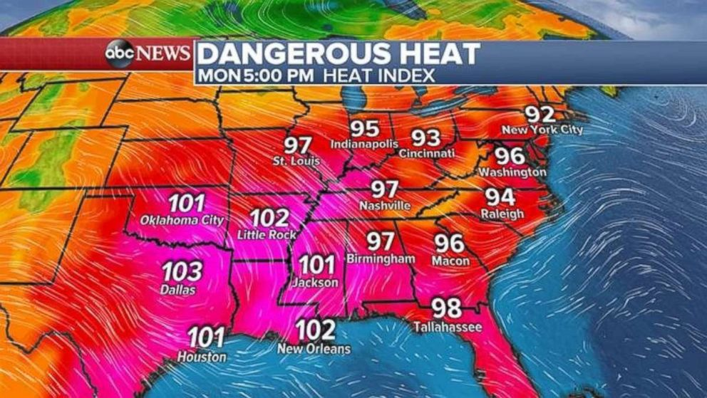 Temperatures are forecast to come in as high 103 degrees in some parts of the country on Monday.