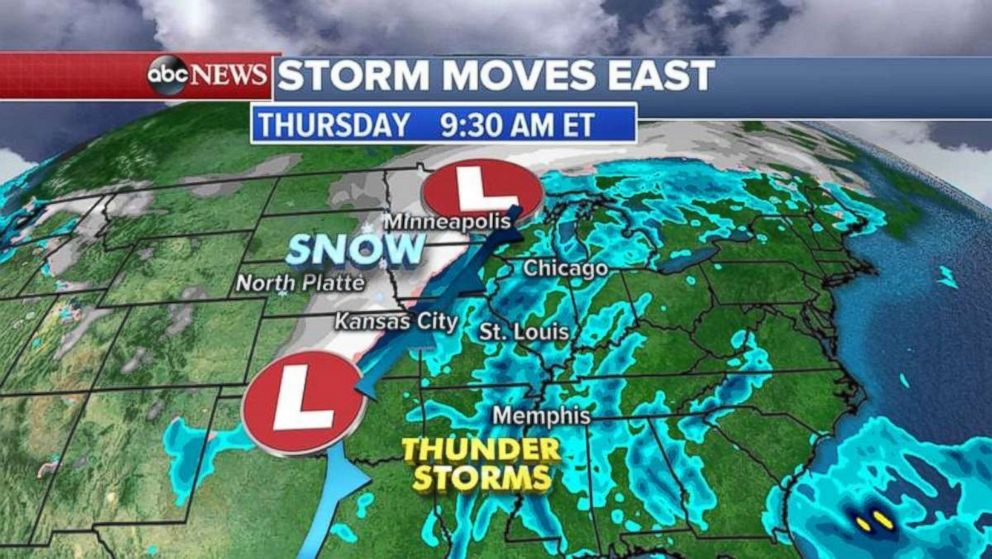 A storm, which was moving through the Rockies on Wednesday morning, is expected to hit the East by Thursday.
