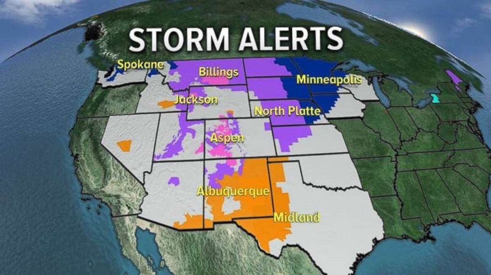 Dozens of states were under wind and snow alerts as a storm moves across the country.