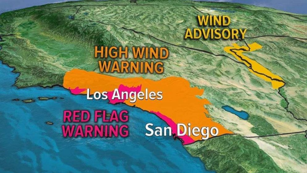 Parts of Southern California were under red flag and high wind warnings on Wednesday.