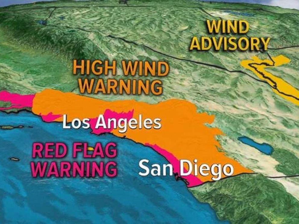 PHOTO: Parts of southern California were under Red Flag and High Wind Warnings on Thursday.