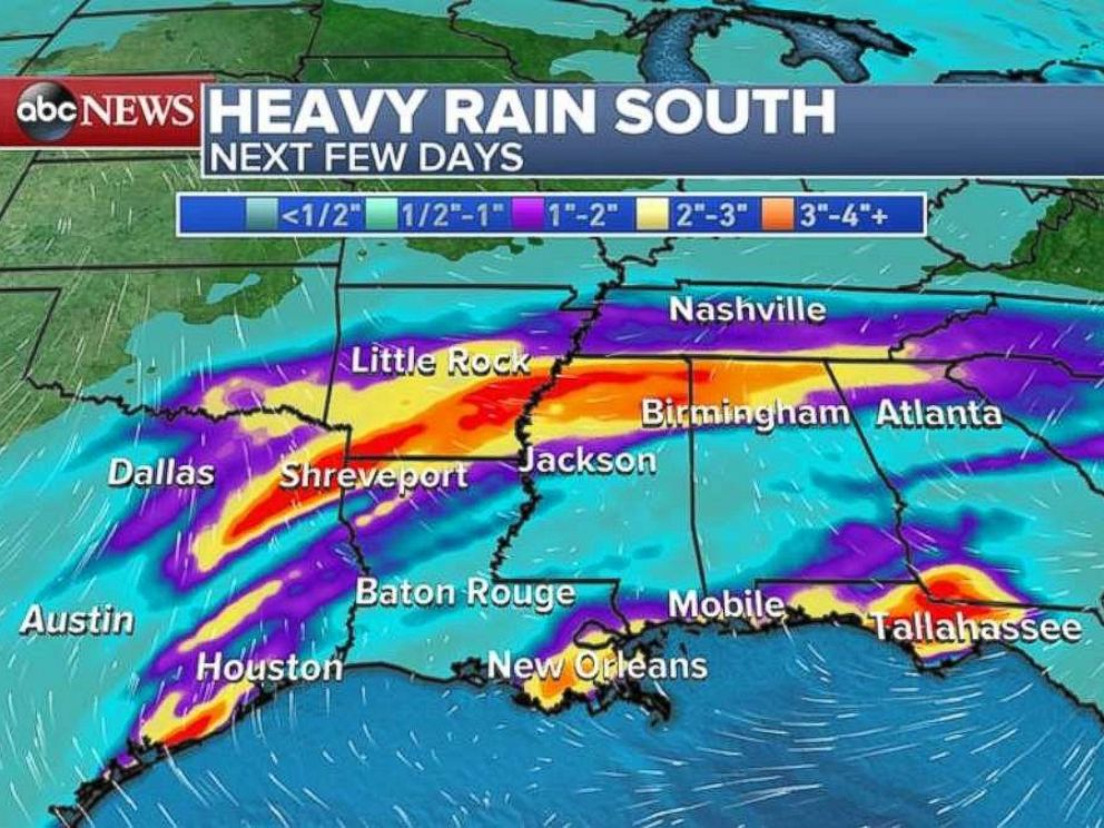 PHOTO: A storm is expected to hit the south on Monday, bringing as much as 4 inches of rain to some areas between Texas and the Carolinas.