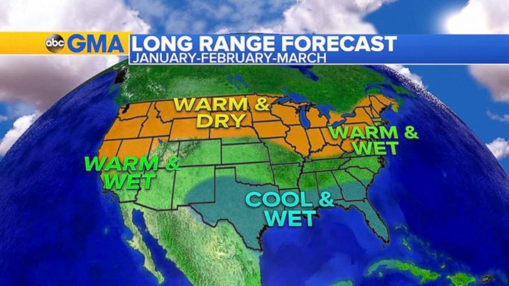 Here is the latest forecast for January, February and March. A typical El Nino pattern will return with milder weather in the Midwest and Northeast, wetter weather in the South and the Southwest, and drier in the Northwest.