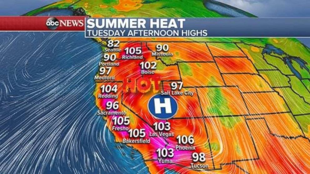PHOTO: In parts of California, temperatures are now seasonably warm with temperatures near 100 degrees or higher.