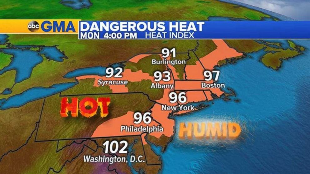 PHOTO: Temperatures could reach between 95 and 100 degrees in parts of the East Coast on Monday.
