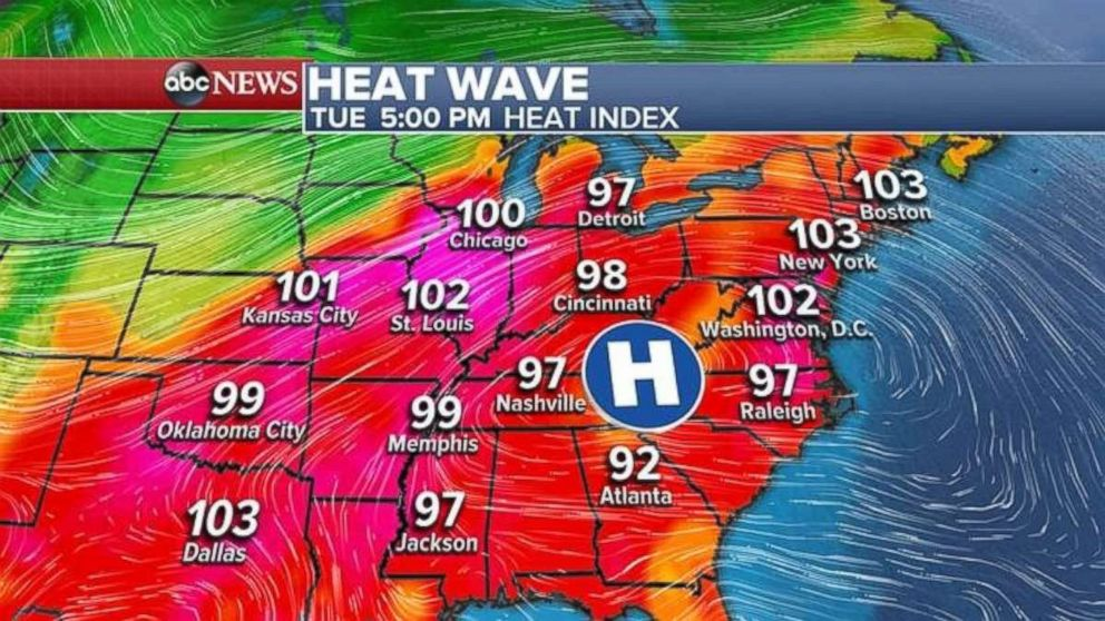 Areas between New York and Chicago are forecast to see triple digit temperatures this week.