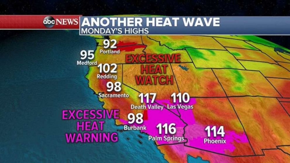PHOTO: Numerous Heat Warnings and Watches have been posted in areas between Arizona and Washington.