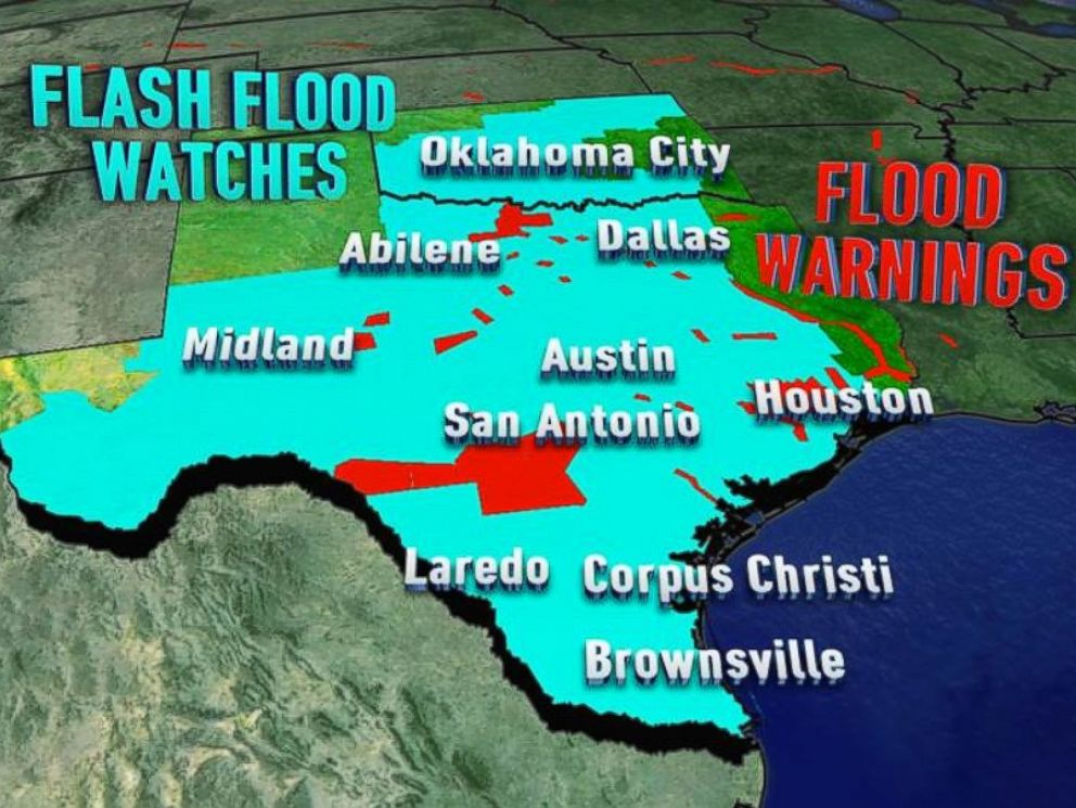 PHOTO: Most of Texas and Oklahoma were under Flash Flood Watches Tuesday due to torrential downpours.
