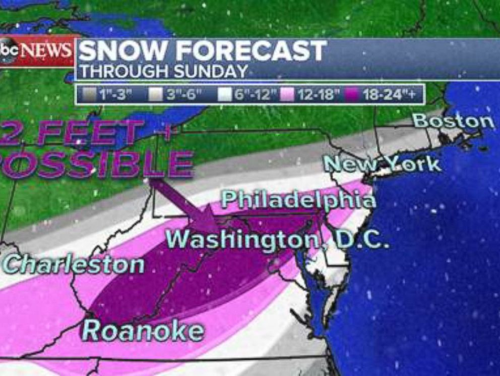 PHOTO: Washington, D.C. and Baltimore are expected to get hit the hardest, with up to 2 feet of snow accumulations.