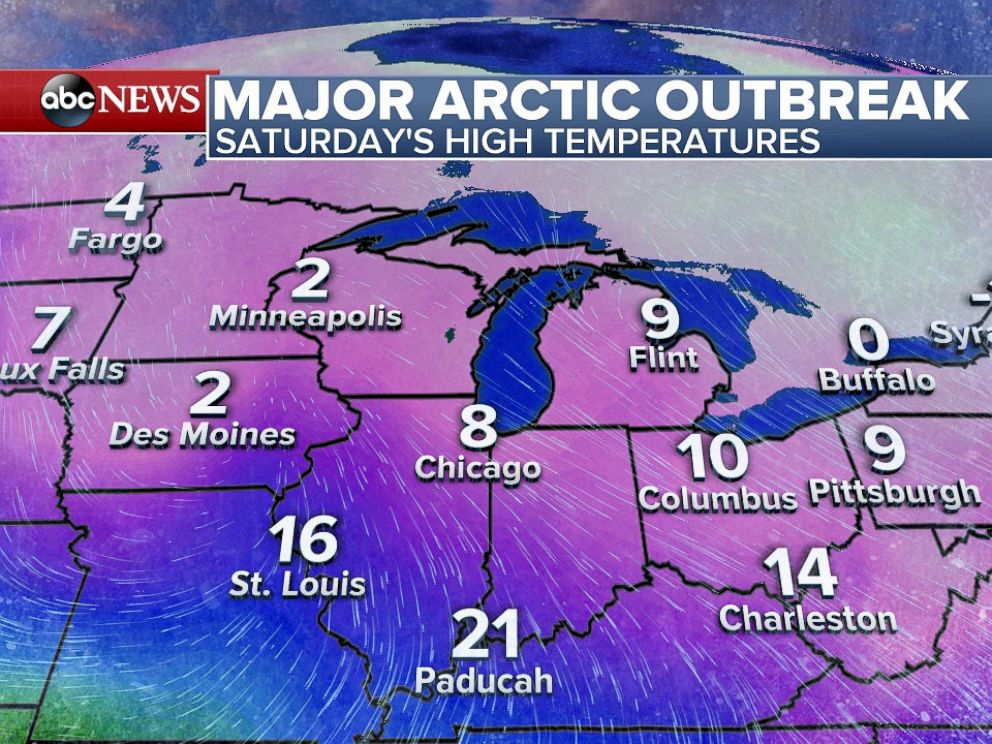 PHOTO: Forecast High Temperatures for Saturday, February 13