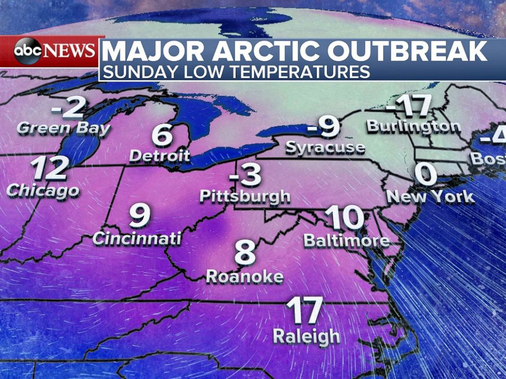 PHOTO: Forecast Low Temperatures for Sunday, February 14.