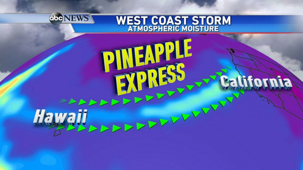 Pineapple Express brings surge of moisture to West Coast